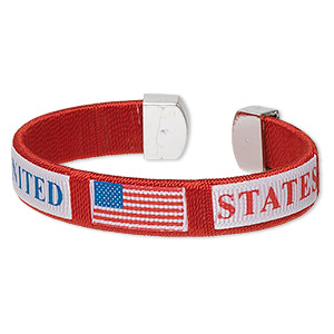 bracelet, cuff, nylon / plastic / silver-coated plastic, red / white / blue, 12mm wide with united states and usa flag design, adjustable from 6-7 inches. sold individually.