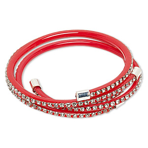 bracelet, cuff, pvc plastic / glass rhinestone / silver-finished brass, red and clear, 4mm wide with cupchain, adjustable from 6-1/2 to 7 inches. sold per pkg of 2.