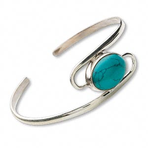 bracelet, cuff, turquoise (dyed / stabilized) and sterling silver, 23mm wide, 2-1/4 inch inside diameter. sold individually.