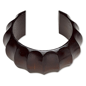 bracelet, cuff, wood (dyed / waxed), dark brown, 35mm wide hand-carved rippled band, 7-1/2 inches. sold individually.