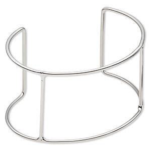 bracelet frame, cuff, imitation rhodium-plated steel, 68x44mm wide with 4 bars, 6-1/2 to 7 inches. sold per pkg of 2.