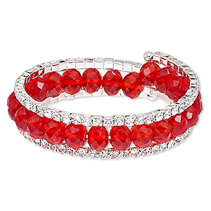 bracelet, glass / glass rhinestone / steel memory wire / silver-plated steel, red and clear, 17mm wide with cupchain, adjustable from 7-1/2 to 8-1/2 inches. sold individually.