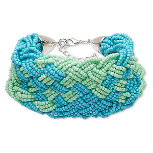 bracelet, glass / silver-coated plastic / silver-plated steel / pewter (zinc-based alloy), turquoise blue and light green, 50mm wide with woven design, 7 inches with 1-3/4 inch extender chain and lobster claw clasp. sold individually.