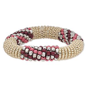 bracelet, glass / steel memory wire / silver-plated steel, cream / pink / dark red, 15mm wide, 7-inch adjustable. sold individually.