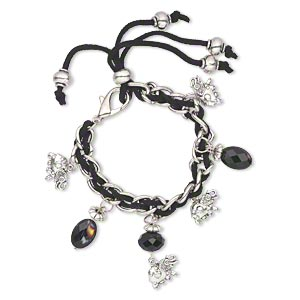 bracelet, glass / velvet / antique silver-finished pewter (zinc-based alloy), black and multicolored, 9mm wide with 16x10mm elephant, 6 inches with lobster claw clasp. sold individually.