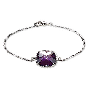 bracelet, glass and rhodium-plated brass, purple, 17x17mm beaded square, 7-1/2 inches with lobster claw clasp. sold individually.
