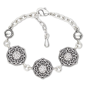 bracelet, glass rhinestone / antique silver-plated brass / steel / pewter (zinc-based alloy), clear, 20mm wide with round, 6 inches with 2-inch extender chain and lobster claw clasp. sold individually.