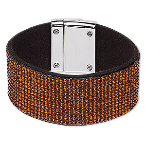 bracelet, glass rhinestone / faux suede / imitation rhodium-plated pewter (zinc-based alloy), black and brown, 31mm wide, 6-1/2 inches with magnetic clasp. sold individually.