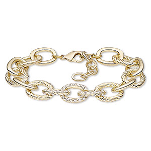 bracelet, glass rhinestone / gold-finished brass / steel / pewter (zinc-based alloy), clear, 14mm cable, 6-1/2 inches with 1-1/2 inch extender chain and lobster claw clasp. sold individually.