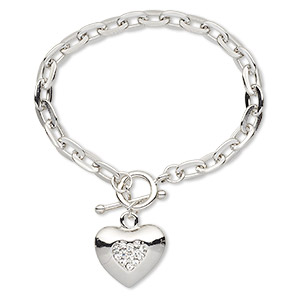 bracelet, glass rhinestone with imitation rhodium-plated steel and pewter (zinc-based alloy), clear, 23x20mm puffed heart, 6-1/2 inches with toggle clasp. sold individually.