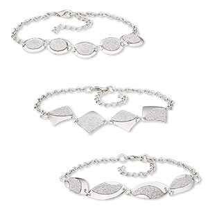 bracelet, glitter paper / imitation rhodium-coated plastic / imitation rhodium-plated steel, silver, 15mm round / 21mm diamond / 26x12mm twisted marquise, 8 inches with 1-3/4 inch extender chain and lobster claw clasp. sold per pkg of 3.