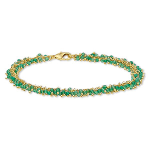 bracelet, green onyx (dyed) and gold-finished brass, 8mm wide with 2mm faceted round, 7-1/2 inches with lobster claw clasp. sold individually.