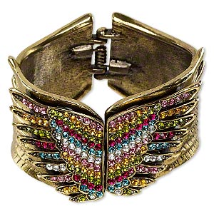 bracelet, hinged bangle, antique gold-finished pewter (zinc-based alloy) and glass rhinestone, multicolored, 45mm wide with double wing design, 6-1/2 inches. sold individually.