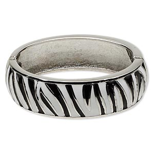 bracelet, hinged bangle, epoxy and rhodium-finished pewter (zinc-based alloy), black and white, 20mm wide with zebra print design, 6 inches. sold individually.