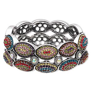 bracelet, hinged bangle, glass rhinestone with antique silver-finished steel and pewter (zinc-based alloy), multicolored, 27.5mm wide with 2-row oval design, 6 inches. sold individually.