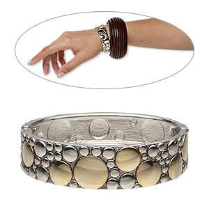 bracelet, hinged bangle, silver-finished and gold-plated pewter (zinc-based alloy), 20mm wide with circle design, 6 inches. sold individually.
