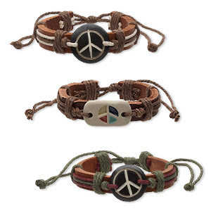 bracelet, leather / bone (dyed) / cotton cord / porcelain, multicolored, 11-13mm wide with assorted peace sign, adjustable from 5-1/2 to 7-1/2 inches with knot closure. sold per pkg of 3.
