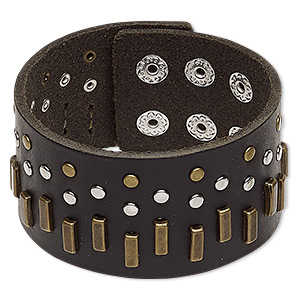 bracelet, leather (dyed) / imitation rhodium- / antique brass-plated steel / pewter (zinc-based alloy), black, 38mm wide with rectangle and round studs, adjustable from 5-1/2 to 6-1/2 inches with double snap closure. sold individually.