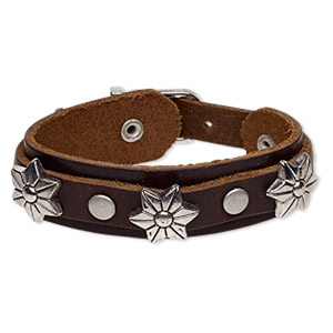 bracelet, leather (dyed) / imitation rhodium-plated steel / antique silver-plated pewter (zinc-based alloy), brown, 22mm wide with 19x17mm flower, adjustable from 6-1/2 to 7 inches with buckle-style closure. sold individually.