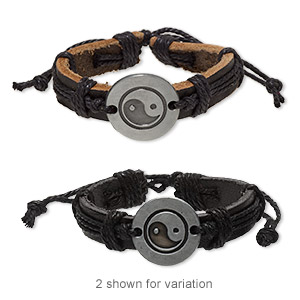 bracelet, leather (dyed) / waxed cotton cord / antiqued pewter (zinc-based alloy), black, 13mm wide with 25mm round and yin-yang design, adjustable from 6 to 8-1/2 inches with wrapped knot closure. sold per pkg of 2.