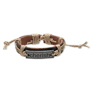 bracelet, leather (dyed) / waxed cotton cord / antiqued pewter (zinc-based alloy), brown and tan, 12mm wide with 35x10mm rectangle with cherish, adjustable from 5-1/2 to 9 inches with knot closure. sold per pkg of 2.