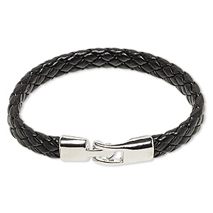 bracelet, leather (dyed) and imitation rhodium-plated pewter (zinc-based alloy), black, 18mm wide woven, 7 inches with buckle-style clasp. sold individually.