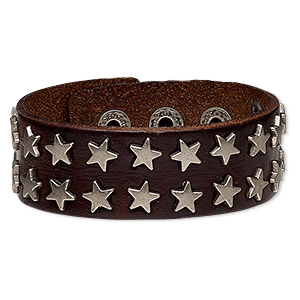 bracelet, leather (dyed) and silver-plated steel, brown, 27mm wide with star studs, adjustable from 5-1/2 to 7 inches with snap closure. sold individually.