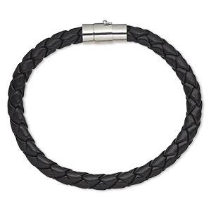 bracelet, leatherette and imitation rhodium-plated brass, black, 6mm wide braided, 6-1/2 inches with magnetic locking tube clasp. sold individually.