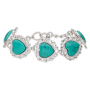 bracelet, magnesite (dyed / stabilized / coated) with silver-plated brass and steel, turquoise green, 22mm wide with 23x22mm heart, 6 to 6-1/2 inches with toggle clasp. sold individually.