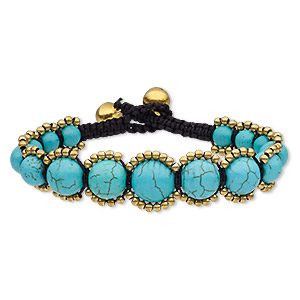 bracelet, magnesite (dyed / stabilized) / waxed cotton cord / brass / brass-plated steel, black and blue, 16mm wide with graduated round and bells, adjustable at 6 and 6-1/2 inches with button clasp. sold individually.