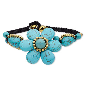 bracelet, magnesite (dyed / stabilized) / waxed cotton cord / brass / brass-plated steel, black and blue, 40mm wide with flower and bells, adjustable at 6-1/2 and 7 inches with button clasp. sold individually.