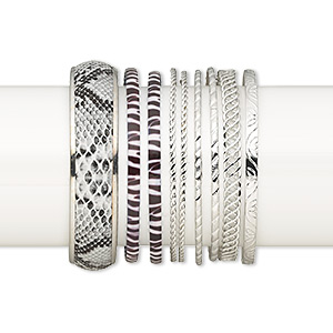 bracelet mix, bangle, imitation leather and imitation rhodium-plated steel, 2-17mm wide with mixed design, 2-1/2 to 2-3/4 inch inside diameter. sold per pkg of 9.
