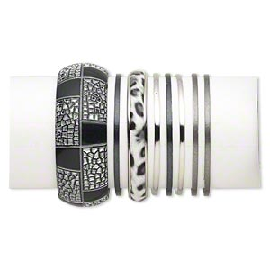 bracelet mix, bangle, plastic / vinyl / silver- / gold- / gunmetal-finished steel, white and black, 3-29mm wide with mixed design, 8 inches. sold per 8-piece set.
