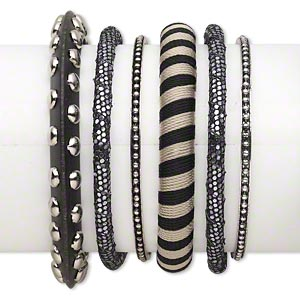 bracelet mix, bangle, wood (dyed) / plastic / polyester / antiqued silver-finished steel, black and silver, 3-10.5mm wide with mixed design, 8 inches. sold per 6-piece set.