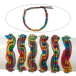 bracelet mix, cotton and nylon, rainbow colors, 18mm wide with twist design, adjustable from 6-1/2 to 9 inches with tie closure. sold per pkg of 6.