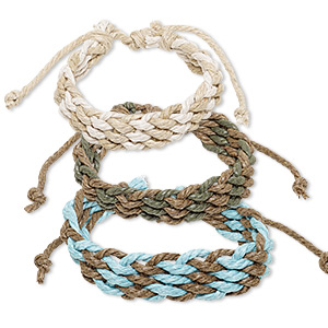 bracelet mix, cotton, mixed colors, 16mm wide, adjustable from 6 to 8-1/2 inches with knot closure. sold per pkg of 3.