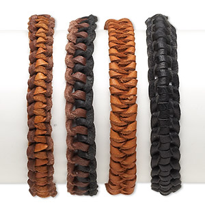 bracelet mix, leather (dyed), brown / black / tan, 10mm wide, adjustable from 6 to 7-1/2 inches with tie closure. sold per pkg of 4.