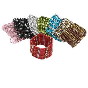 bracelet mix, stretch, acrylic and glass, mixed colors, mixed size and shape, 6-1/2 inches. sold per pkg of 8.
