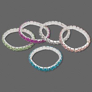 bracelet mix, stretch, acrylic and steel, mixed colors, 6mm faceted round, 6-1/2 inches. sold per pkg of 5.