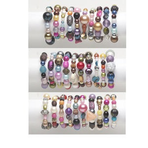bracelet mix, stretch, acrylic, mixed colors, 18-42mm wide with 5mm-32x27mm mixed shape, 6-1/2 inches. sold per pkg of 10.