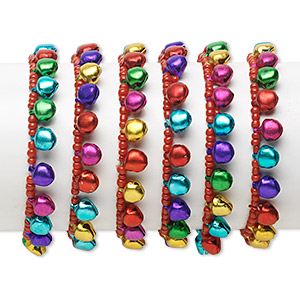 bracelet mix, stretch, aluminum and glass, multicolored, bell, 6 inches. sold per pkg of 6.