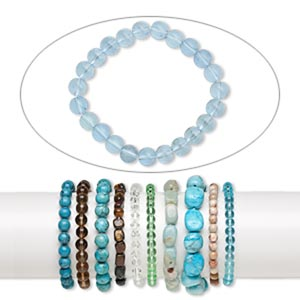 bracelet mix, stretch, multi-gemstone (natural / dyed / man-made) and glass, mixed colors, 6-12mm wide with mixed shape, 6 to 6-1/2 inches. sold per pkg of 10.