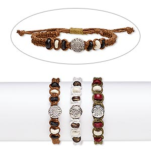 bracelet mix, wood (natural) / stained wood / waxed cotton cord / silver-coated plastic, mixed colors, 10.5mm wide, adjustable from 7-9 inches with wrapped knot closure. sold per pkg of 3.