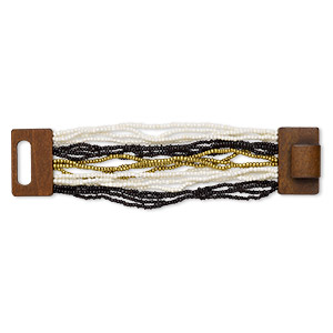 bracelet, multi-strand stretch, glass and stained wood, white / black / gold, 46mm wide, 7 inches with hook-and-eye clasp. sold individually.