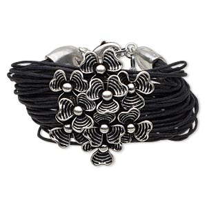 bracelet, multi-strand, waxed cotton cord and antiqued silver-finished pewter (zinc-based alloy), black, 19mm wide with 43x45mm flower, 7 inches with lobster claw clasp and 3-inch extender chain. sold individually.
