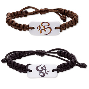 bracelet, nylon and acrylic, black / brown / white, 17mm wide with 36x17mm curved rectangle and om symbol, adjustable from 6-1/2 to 8 inches with macrame knot closure. sold per pkg of 2.
