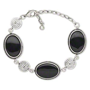 bracelet, resin with antique silver-finished steel and pewter (zinc-based alloy), black, 29x21mm oval, 6-1/2 inches with 2-1/2 inch extender chain and lobster claw clasp. sold individually.