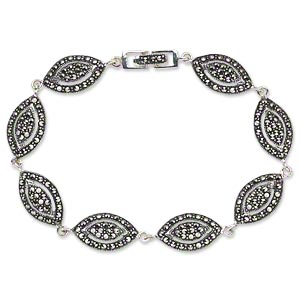 bracelet, signity marcasite (natural) and antiqued sterling silver, 18x10mm domed marquise with cutout design, 7 inches with fold-over clasp. sold individually.