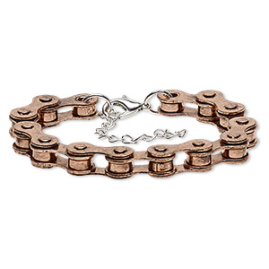 bracelet, silver- and antique copper-plated steel, 6mm wide with 21x6mm bicycle chain, 6 inches with 2-1/2 inch extender chain and lobster claw clasp. sold individually.
