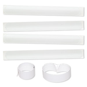 bracelet, slap-on, steel and plastic, white, 1 inch wide, 6 to 7-1/2 inches. sold per pkg of 10.
